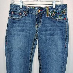 COOGI Straight Leg Low Rise Embroidered jeans 7/8